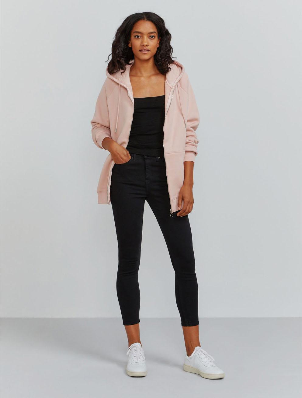 Organic cotton boy-fit zip through hoodie