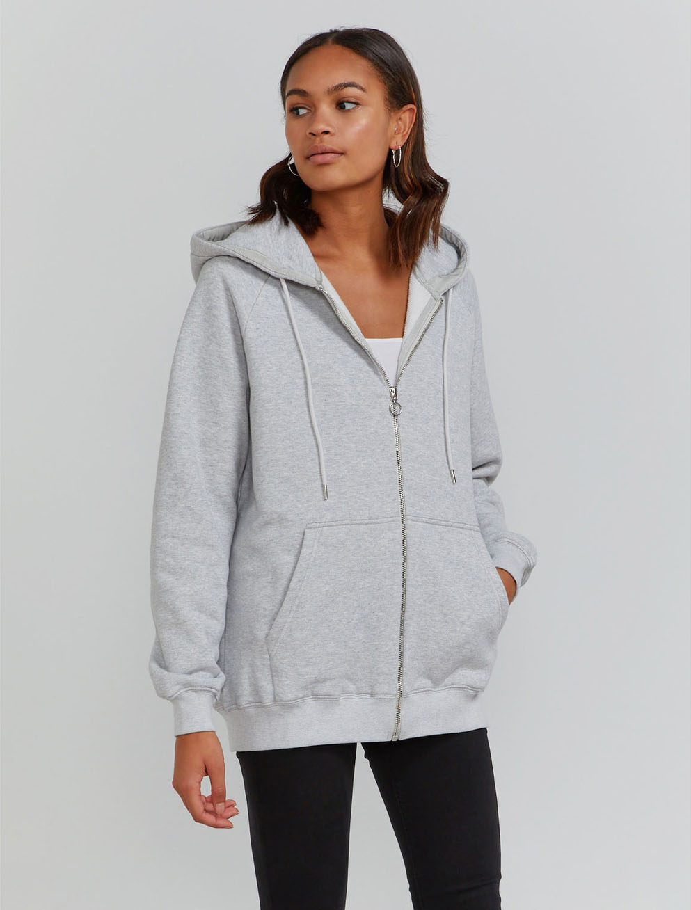 Organic cotton boy-fit zip through hoodie