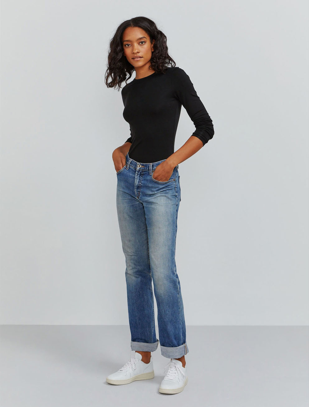Tencel fitted long-sleeve T-shirt