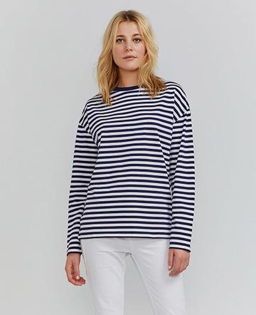 Organic cotton long-sleeve stripe T-shirt