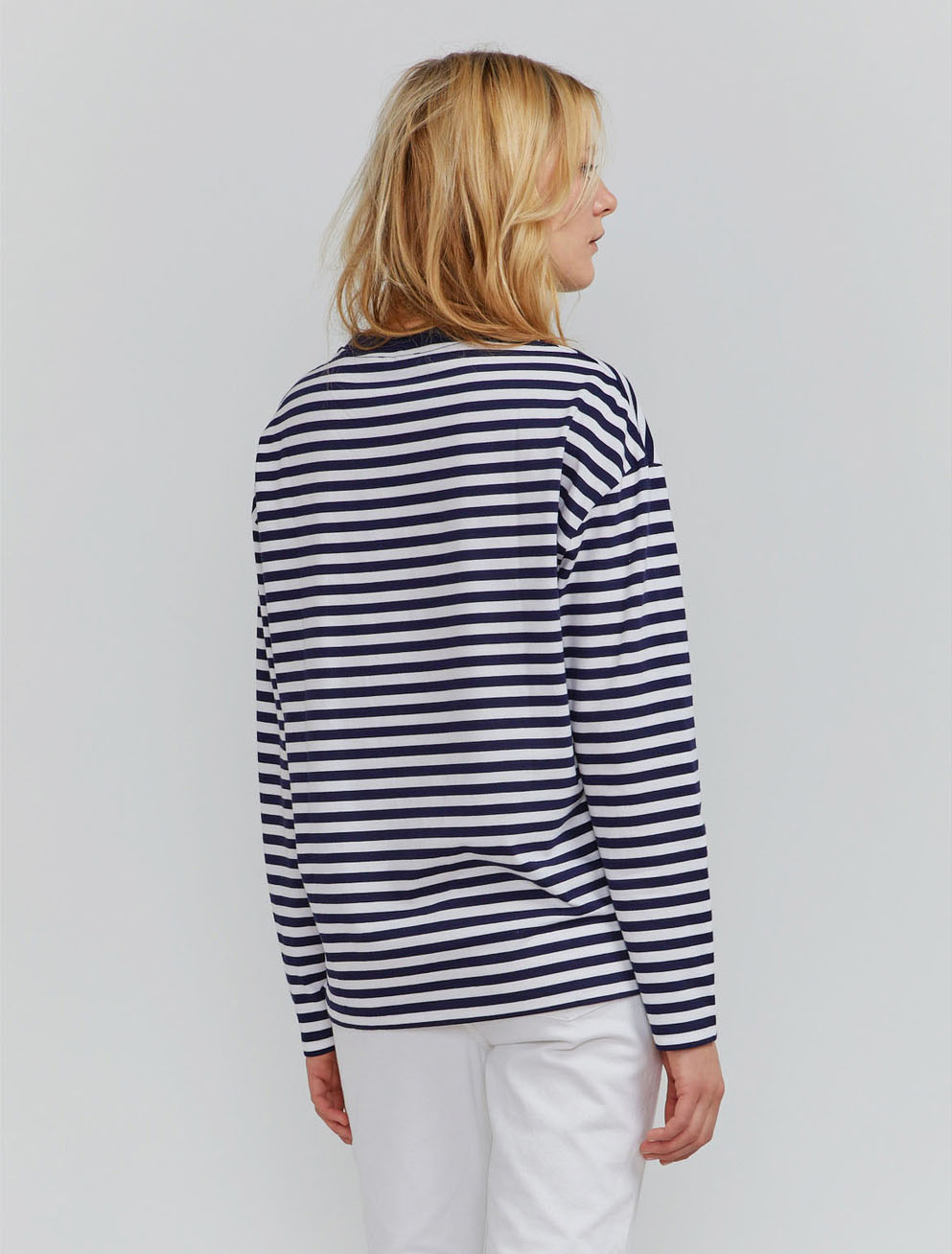 Organic cotton long-sleeve stripe T-shirt