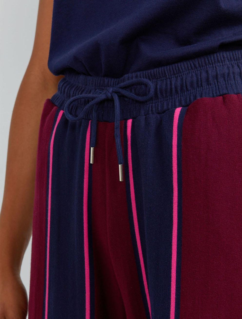 Organic cotton pyjama stripe sweatpants