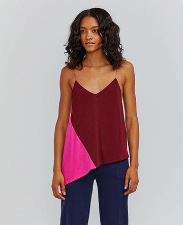 Colour-block asymmetric cami