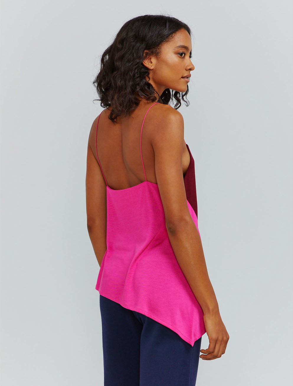 Colour-block asymmetric cami