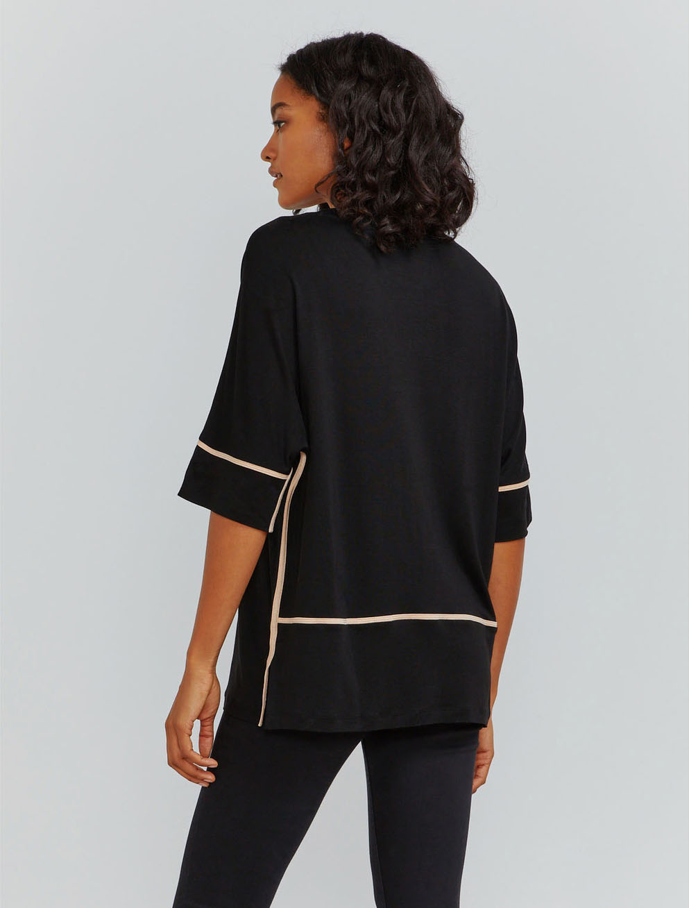 Tencel pyjama piped T-shirt