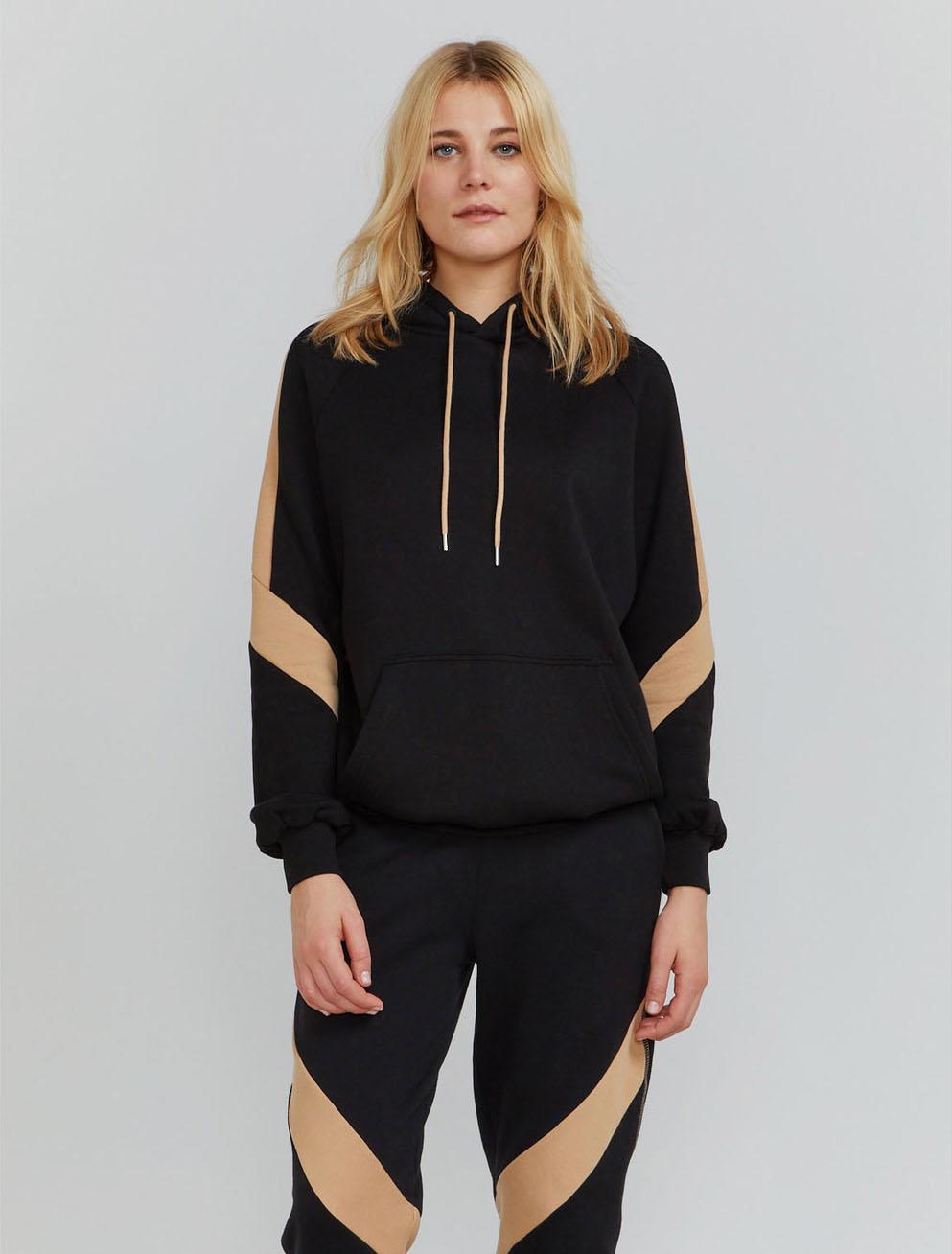 Organic cotton contrast panel hoodie