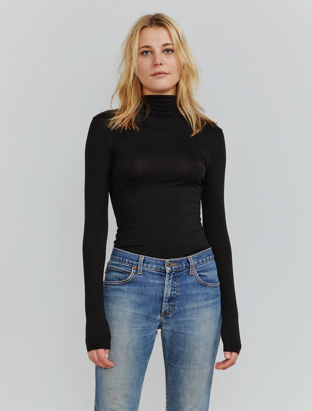 encel fitted roll neck top