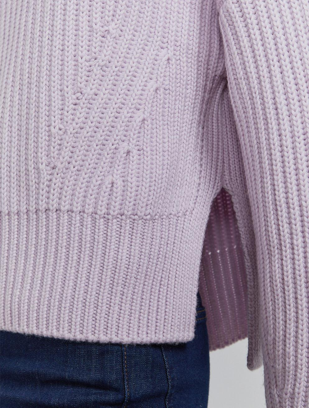 Organic merino fisherman's rib roll neck sweater