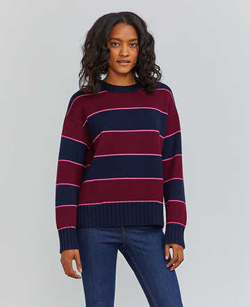 Organic merino striped crew neck sweater