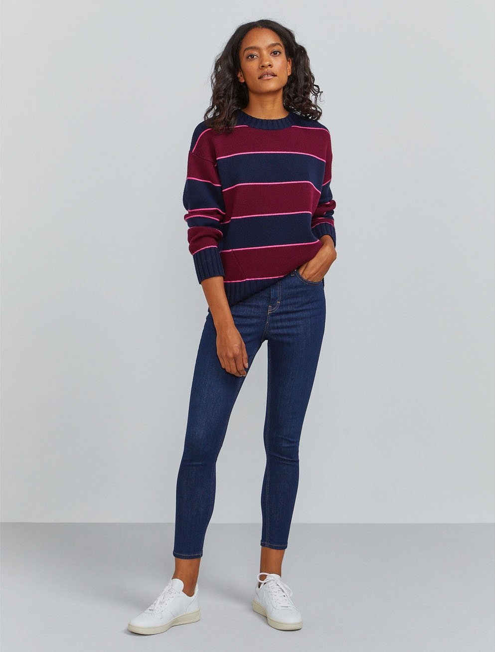 Organic merino striped crew neck sweater