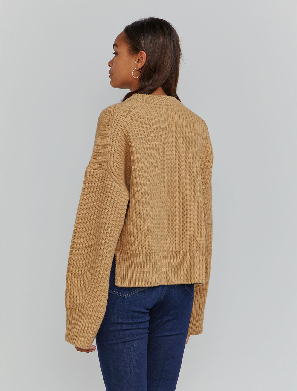 Organic merino fisherman's rib crew neck sweater