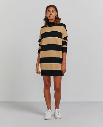 Organic merino turtleneck striped sweater dress