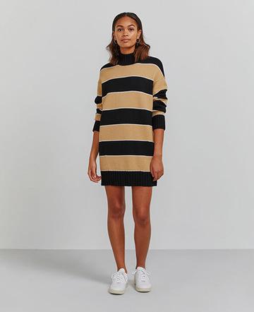 Organic merino turtleneck striped sweater dress