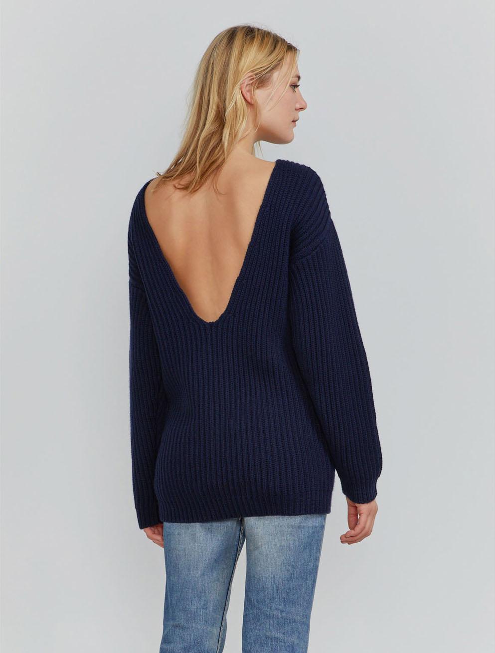 Organic merino fisherman's rib v-back sweater