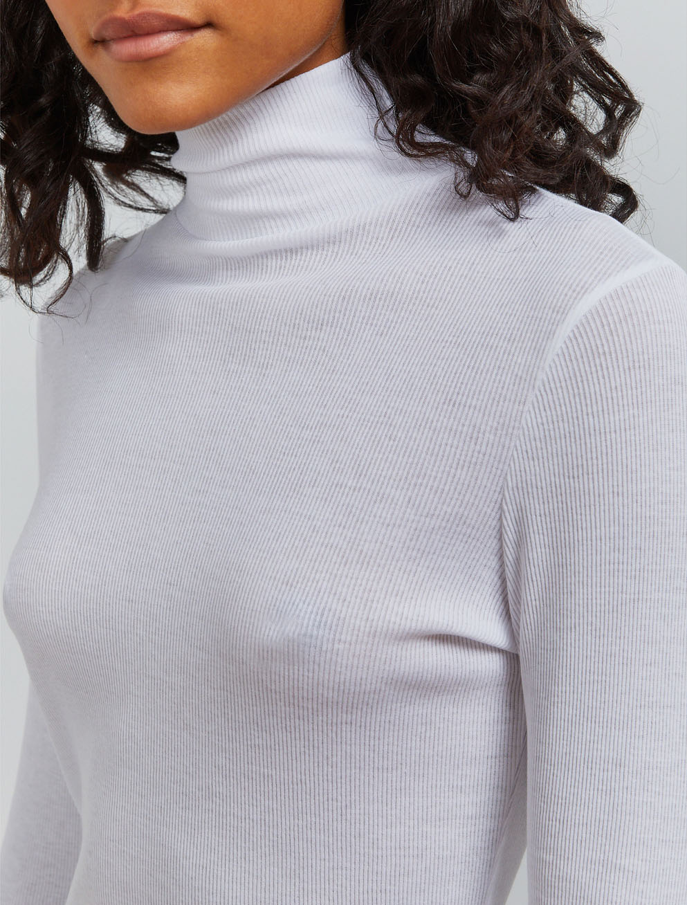 Organic cotton ribbed roll neck top
