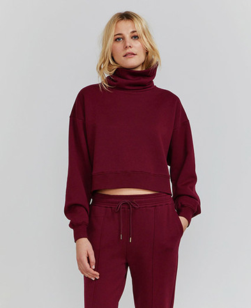 Organic cotton funnel-neck sweatshirt