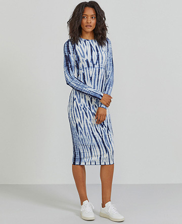 Tencel tie-dye long-sleeve dress