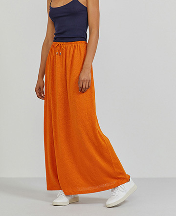 Natural linen draw-cord maxi skirt