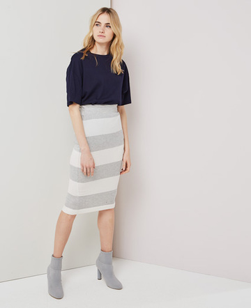 Wide stripe skirt