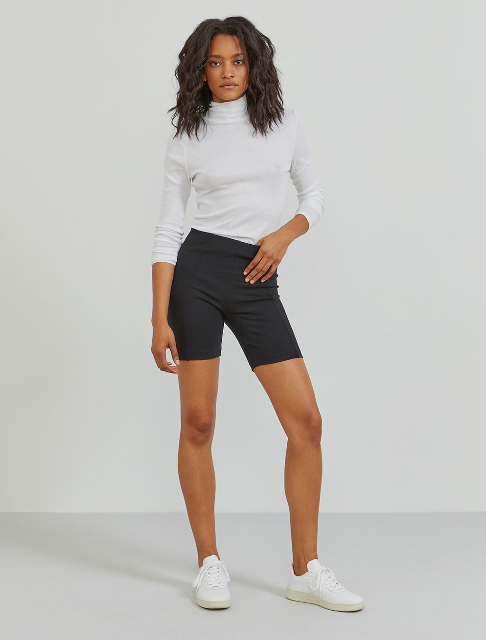 Stretch-jersey high-waisted cycling short