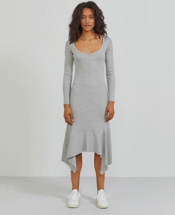 Organic cotton ribbed-jersey flared hem dress