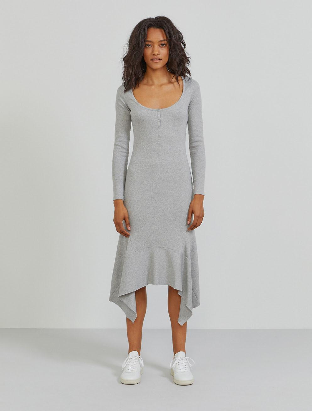 Organic cotton ribbed-jersey flared hem dress