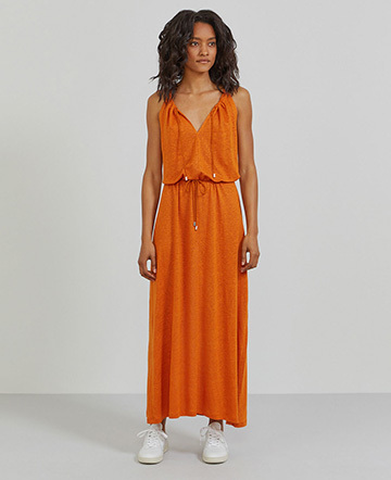 Natural linen sleeveless maxi dress