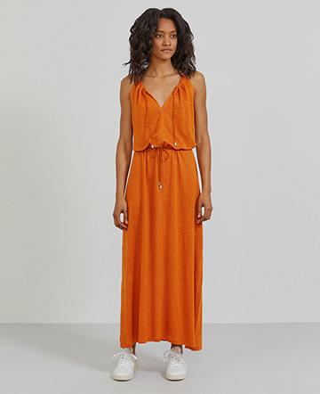 90bc398d629 Natural linen sleeveless maxi dress