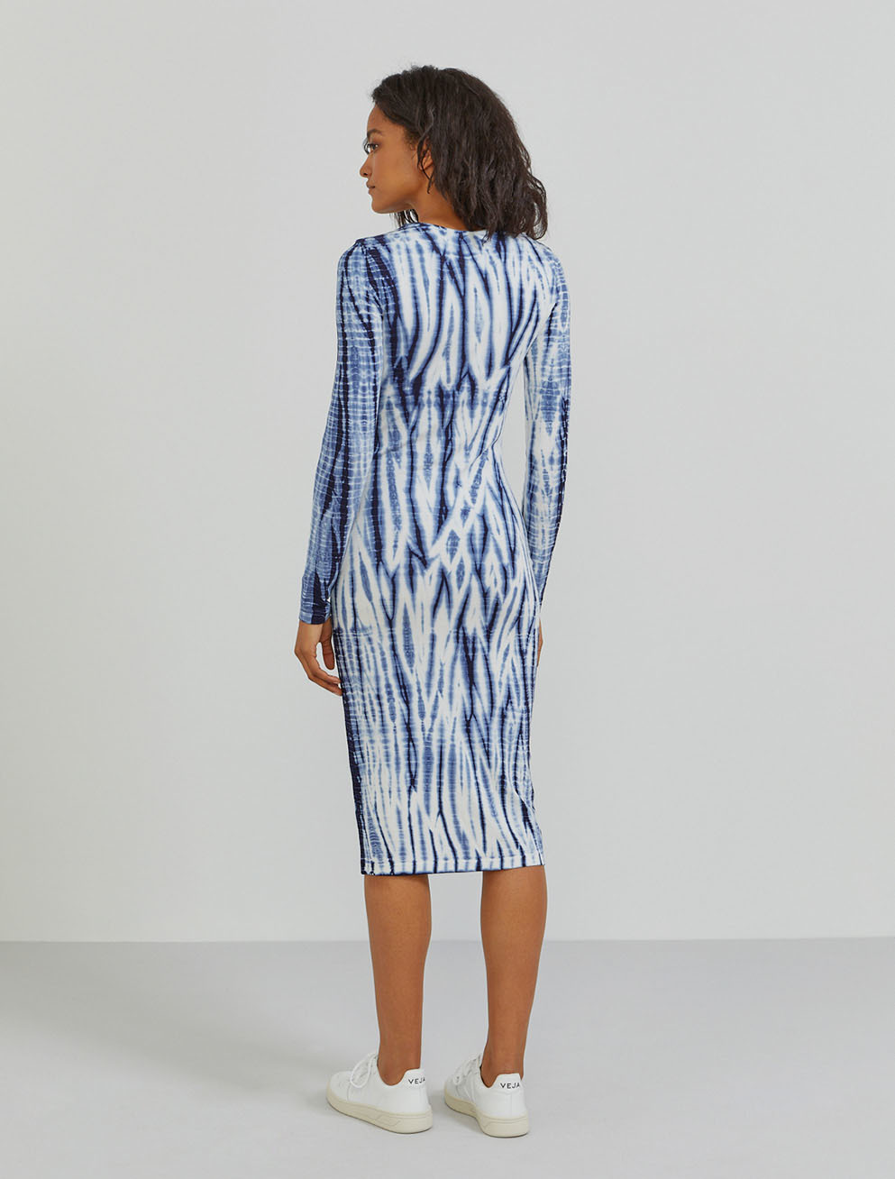 Tencel tie-dye long-sleeve dress