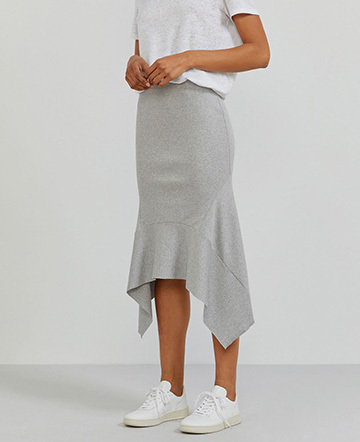 Organic cotton ribbed-jersey flared hem skirt