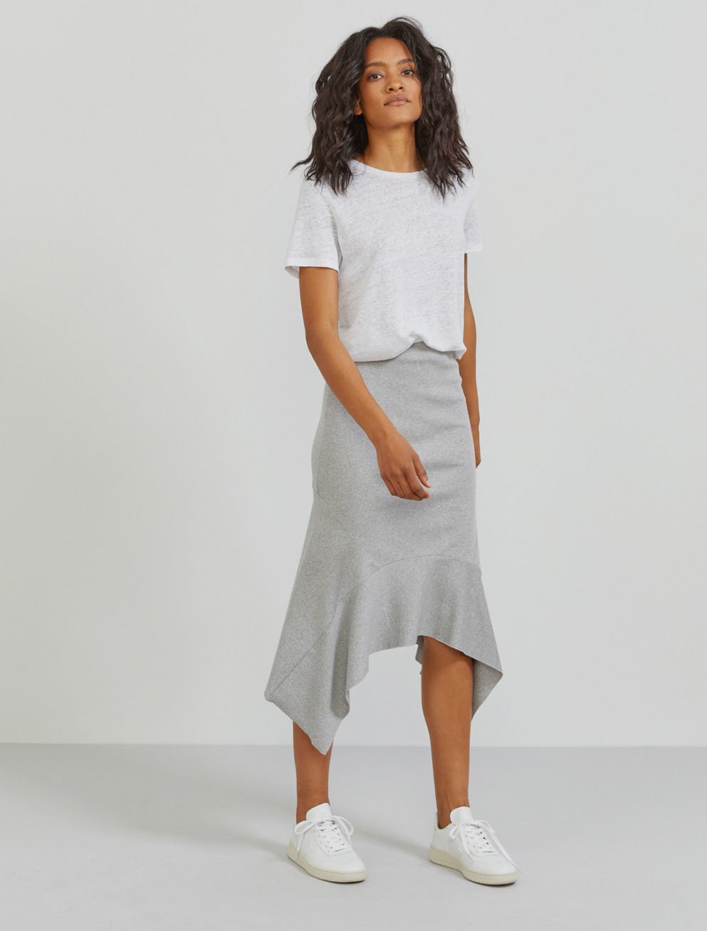 Organic cotton ribbed-jersey flared hem skirt
