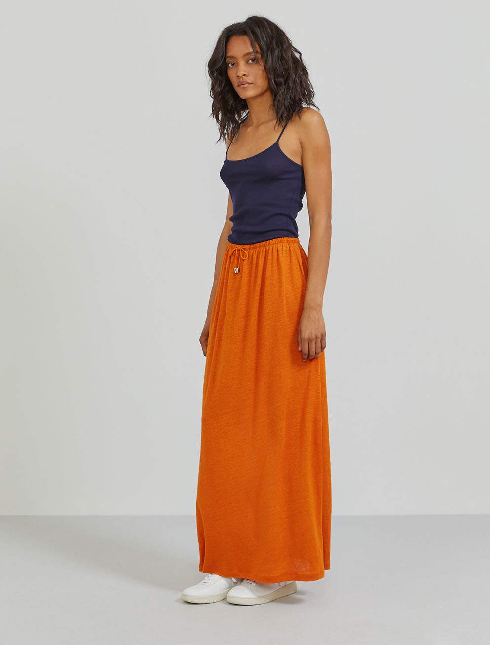 Natural linen draw-cord maxi skirt