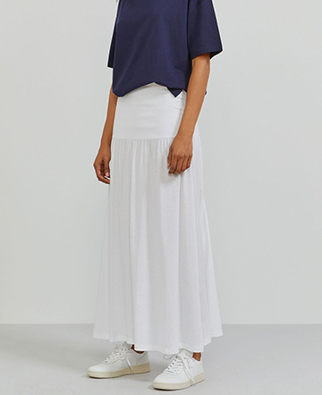 Organic cotton dropped waist maxi skirt