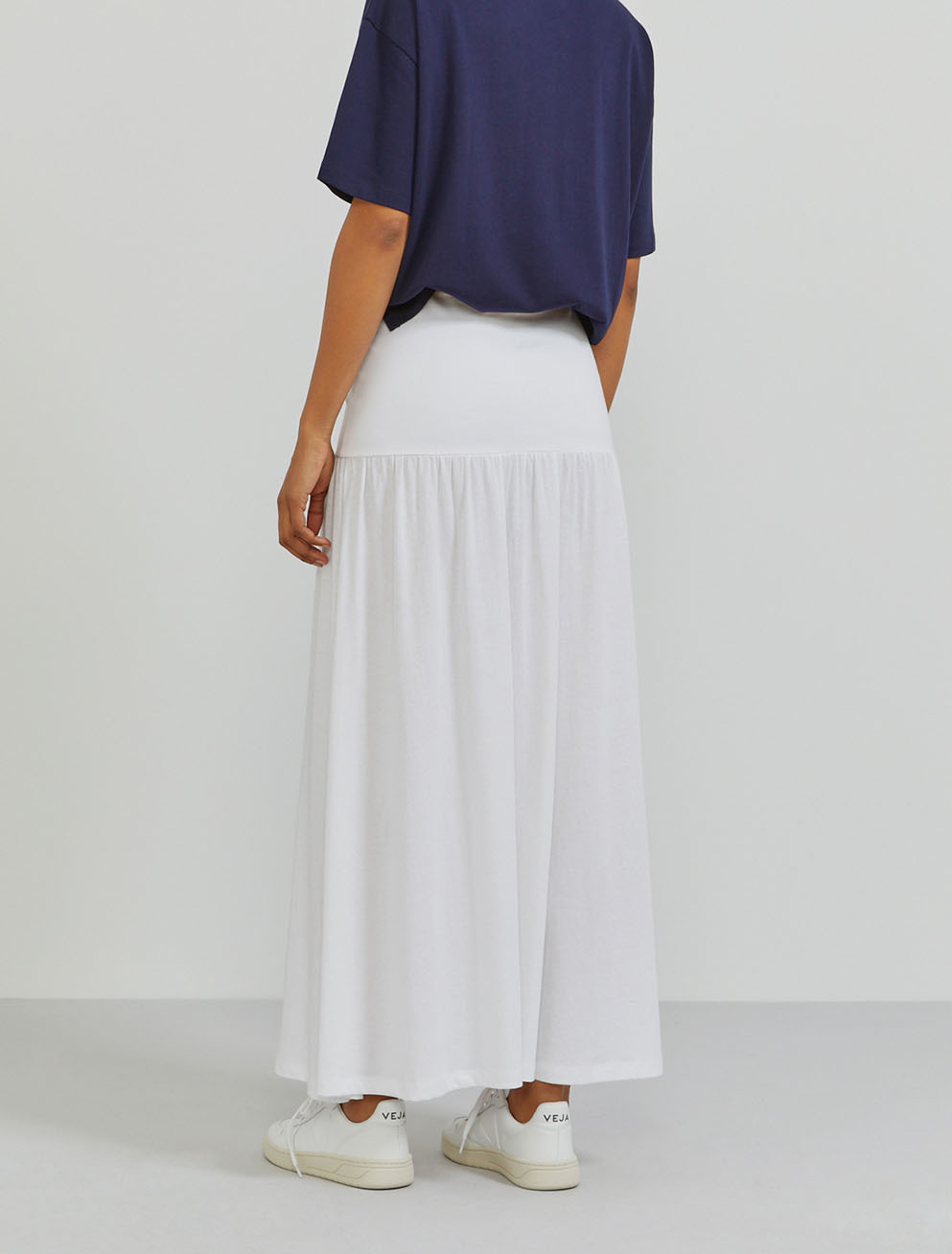 Organic cotton dropped waist maxi skirt