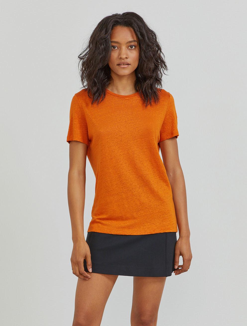Natural linen boy-fit T-shirt