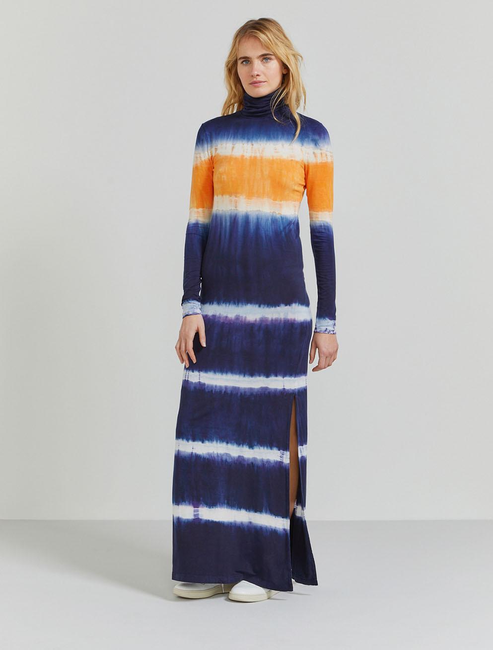 Tencel tie-dye roll-neck maxi dress