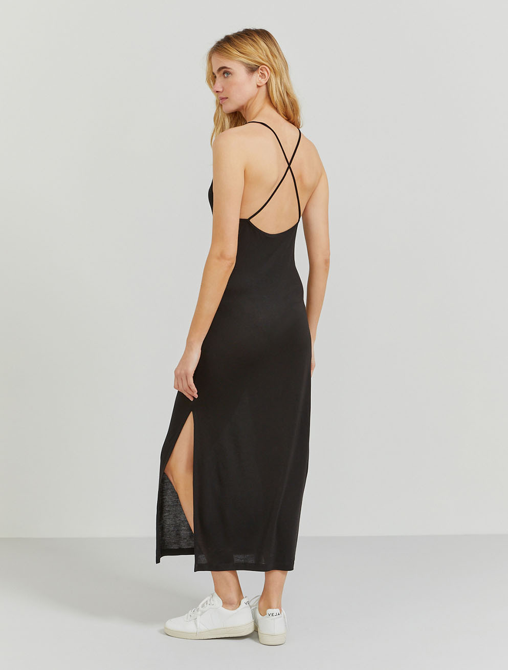 Tencel cross-back slip dress