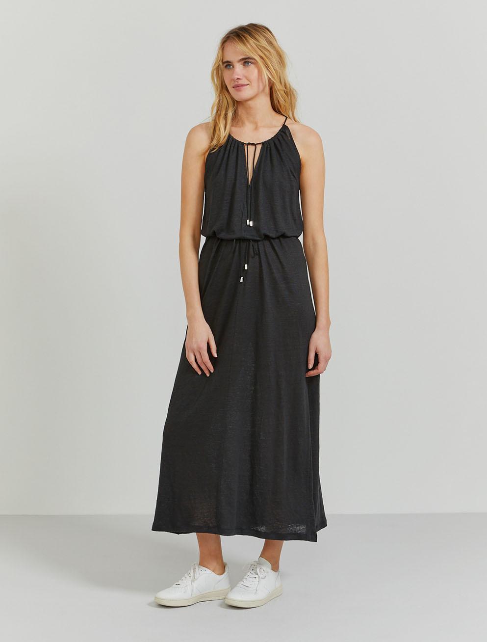 Natural linen sleeveless maxi dress