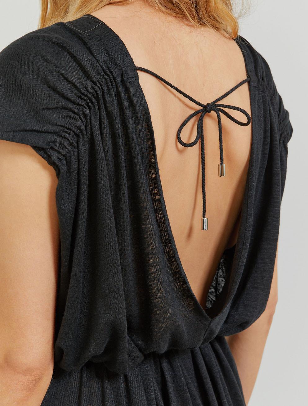 Natural linen low-back maxi dress