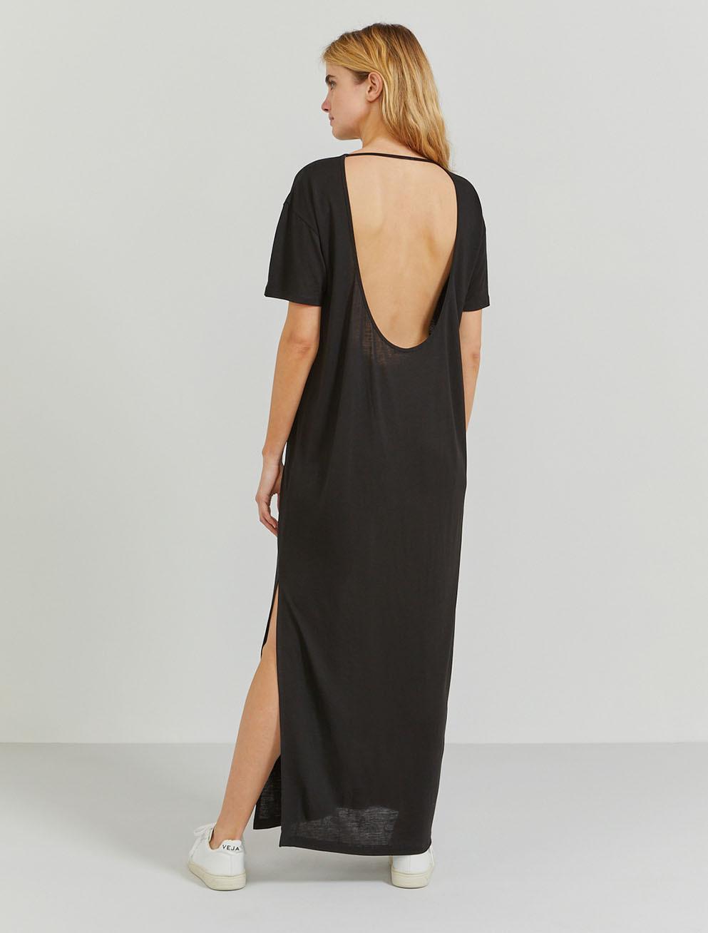 Tencel open-back T-shirt maxi dress