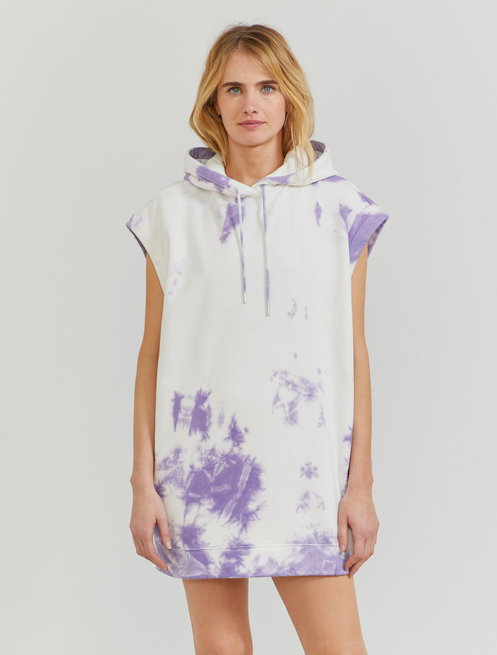 Organic cotton tie-dye hoodie dress