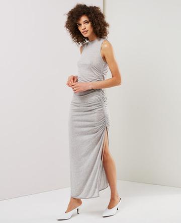 Drawcord sleeveless dress