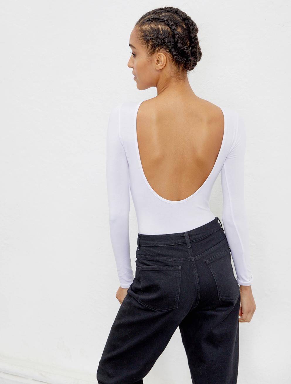 Tencel white backless bodysuit