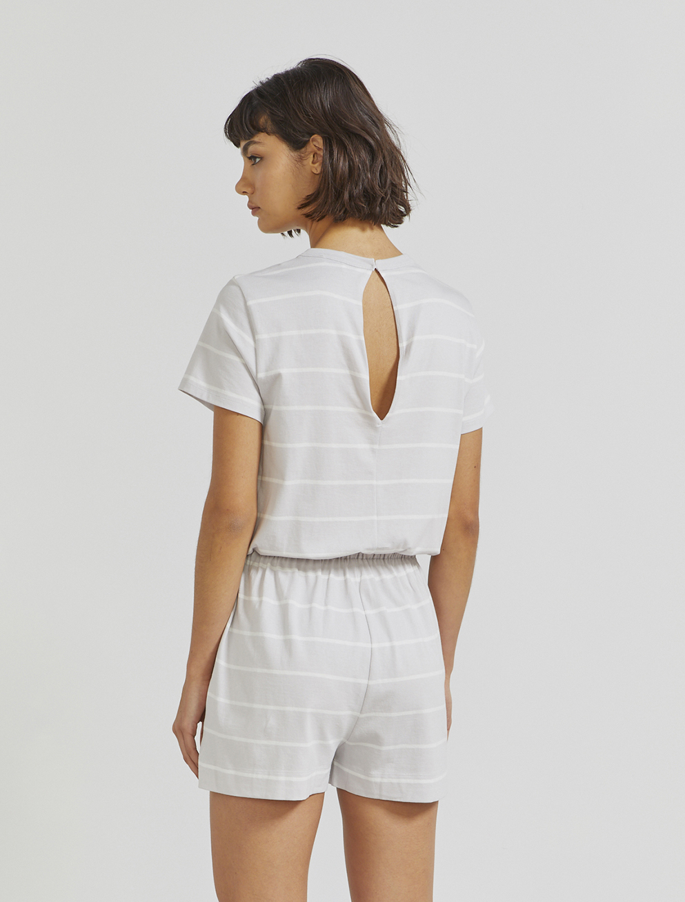 Organic cotton striped playsuit