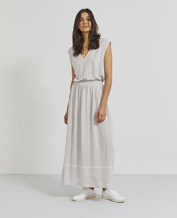 Natural linen V-neck dress