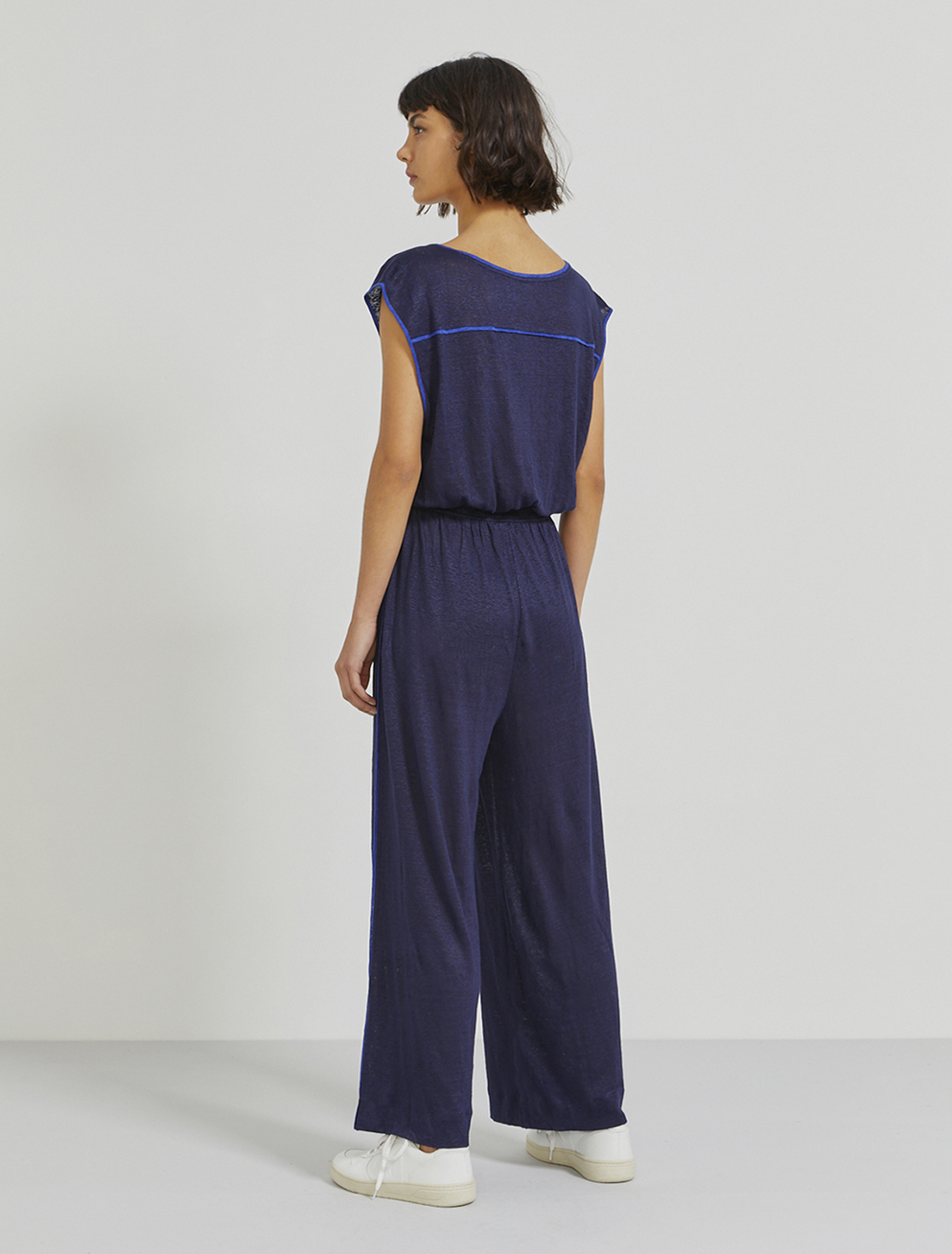 Natural linen V-neck jumpsuit