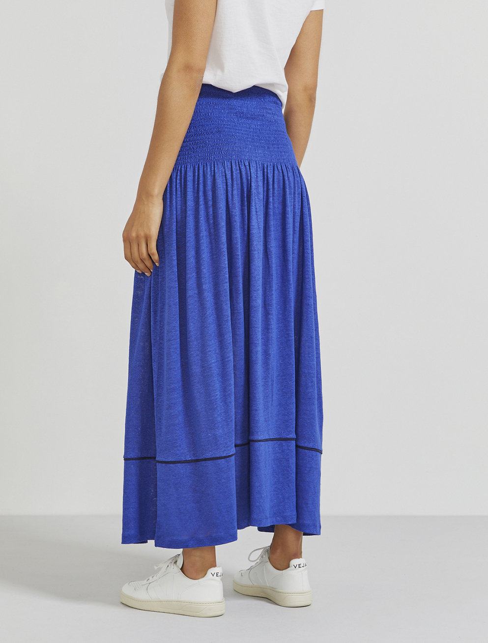 Natural linen shirring maxi skirt