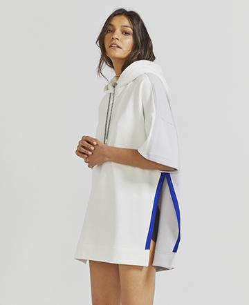Organic cotton side-split short-sleeved hoodie