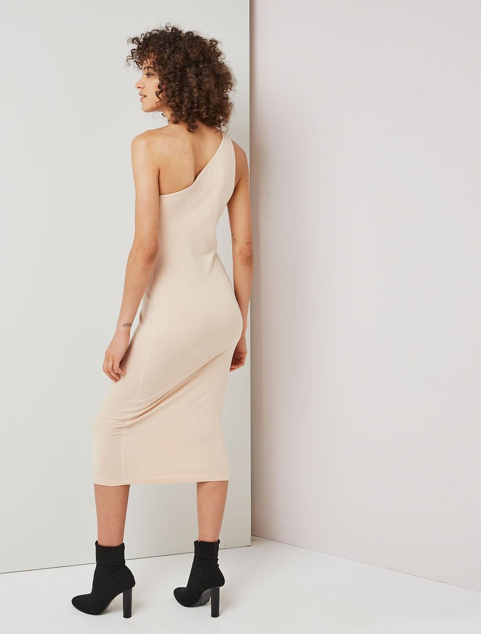 Asymmetric stretch jersey dress